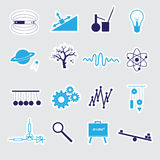 Physics stickers set eps10 Royalty Free Stock Photos