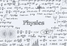 Physics vector pattern background in exercise book Royalty Free Stock Image