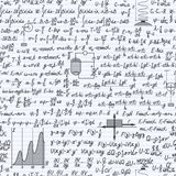Physics vector seamless pattern backdrop notebook. Physical vector seamless pattern background with formulas, equations and figures, handwritten in a notebook Stock Image