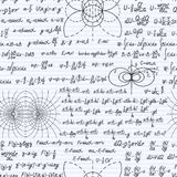 Physics vector seamless pattern backdrop notebook. Physical vector seamless pattern background with formulas, equations and figures, handwritten in a notebook Royalty Free Stock Image