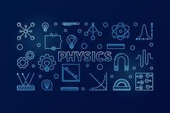 Physics wektorowy błękitny horyzontalny sztandar Nauki ilustracja ilustracja wektor