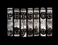 Physics word. On black background Stock Image