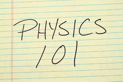 Physics 101 On A Yellow Legal Pad Royalty Free Stock Photos