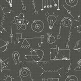 Physik kritzelt nahtloses Muster Stockbild