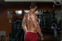Physikalisch Mann, der seine gut ausgebildete Rückseite zeigt Stockbilder