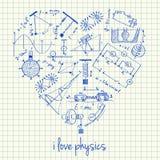 Physikzeichnungen in der Herzform Lizenzfreie Stockfotografie