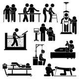 Physio sjukgymnastik- och rehabiliteringbehandling Clipart stock illustrationer
