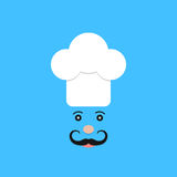 Physiognomy of chef on blue background. Concept of haute cuisine, culinary secrets, invitation, hobby, bon appetite, chief, gastronomical. flat style trendy Royalty Free Stock Photo