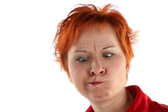 Physiognomy of woman. Physiognomy of red haired woman isolated on white background Stock Photos