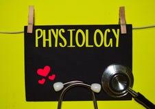 PHYSIOLOGIE sur le fond jaune photos libres de droits