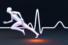 Physiology Measurement. Measurement of physiology properties in a runner. 3D rendered Illustration Stock Photo