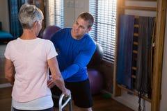 Physiothérapeute aidant le patient pour marcher avec le cadre de marche Image stock