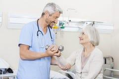 Physiothérapeute Assisting Senior Woman pour soulever des haltères Image libre de droits