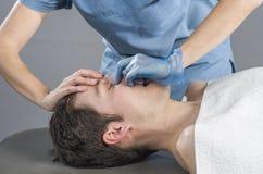 Sinus massage Royalty Free Stock Images