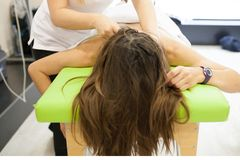 Physiotherapist applying massage stock photos