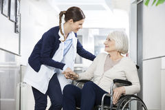 Physiotherapist Consoling Senior Woman Sitting In Wheelchair Royalty Free Stock Images