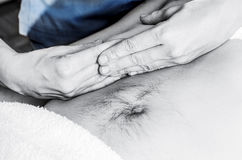 Physiotherapist is doing an activation of the diaphragm. Massage Stock Images