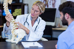 Physiotherapist explaining spine model to patient Stock Image