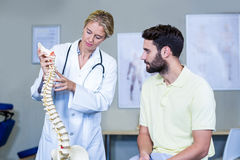 Physiotherapist explaining the spine model to patient Royalty Free Stock Image