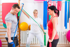 Physiotherapist giving patients gymnastic exercise Stock Photo