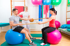 Physiotherapist giving patients gymnastic exercise Royalty Free Stock Photos