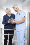 Physiotherapist Showing Reports On Digital Tablet To Senior Pati Royalty Free Stock Photo