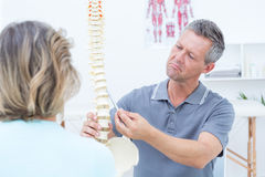 Physiotherapist showing spine model to his patient Royalty Free Stock Photo