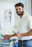 Physiotherapist using therapeutic ultrasound Royalty Free Stock Photo