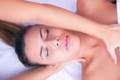 Physiotherapy cervical massage Stock Photo