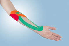 Physiotherapy for elbow pain, aches and tension Stock Images