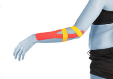 Physiotherapy for elbow pain, aches and tension. Physiotherapy treatment with therapeutic tape for elbow pain, aches and tension. It is also used for prevention stock images