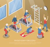 Physiotherapy For Elderly Isometric Vector Illustration Stock Photos