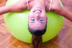 Physiotherapy exercises with bobath ball fitball. In studio Stock Photography