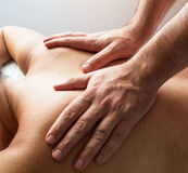 Physiotherapy I. Back massage - physiotherapy & manipulation. Manipulative physiotherapy Royalty Free Stock Photos