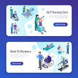 Physiotherapy Isometric Banners Royalty Free Stock Images