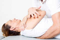 Physiotherapy manipulation Stock Photo