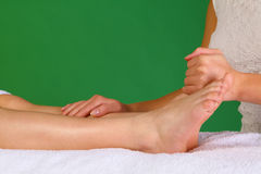 Physiotherapy or reflexology on leg Royalty Free Stock Photo