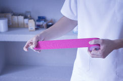 Physiotherapy rehabiliation treatment tape physiotherapist Stock Image