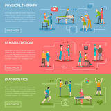 Physiotherapy Rehabilitation Banners Stock Photos