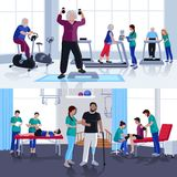 Physiotherapy Rehabilitation Center 2 Flat Banners Stock Photo