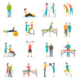 Physiotherapy Rehabilitation Color Icons. Physiotherapy rehabilitation flat color icons with doctor nurse and patients involved in physical exercises massage and Royalty Free Stock Image