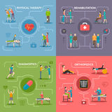 Physiotherapy Rehabilitation 2x2 Design Concept. Physiotherapy rehabilitation 2x2 flat design concept set of orthopedic exercises medical diagnostics geriatric Royalty Free Stock Photo