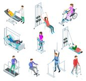 Physiotherapy rehabilitation equipment. Patients and nursing staff in rehabilitation centre clinic. Isometric vector set. Rehabilitation equipment for patient vector illustration