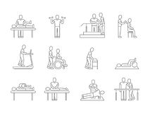 Physiotherapy and rehabilitation, exercises and massage therapy vector line medical icons. Medical patient, physical therapy exercise illustration Stock Photos