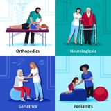 Physiotherapy Rehabilitation 4 Flat Icons Square Stock Images