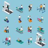 Physiotherapy Rehabilitation Isometric People Icon Set stock illustration