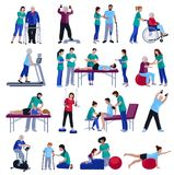 Physiotherapy Rehabilitation People Flat Icons Collection Stock Photos