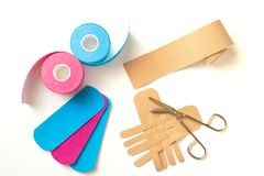 Physiotherapy and therapeutic tape for wrist pain, aches and tension. elastic therapeutic tape