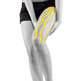 Physiotherapy treatment with therapeutic tape for leg pain. Stock Photography