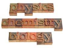 Physique, chimie et biologie Photos stock